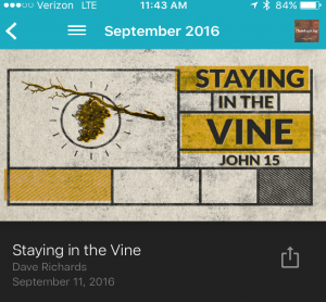 "Great message ""Staying in the Vine"" from Dave Richards"